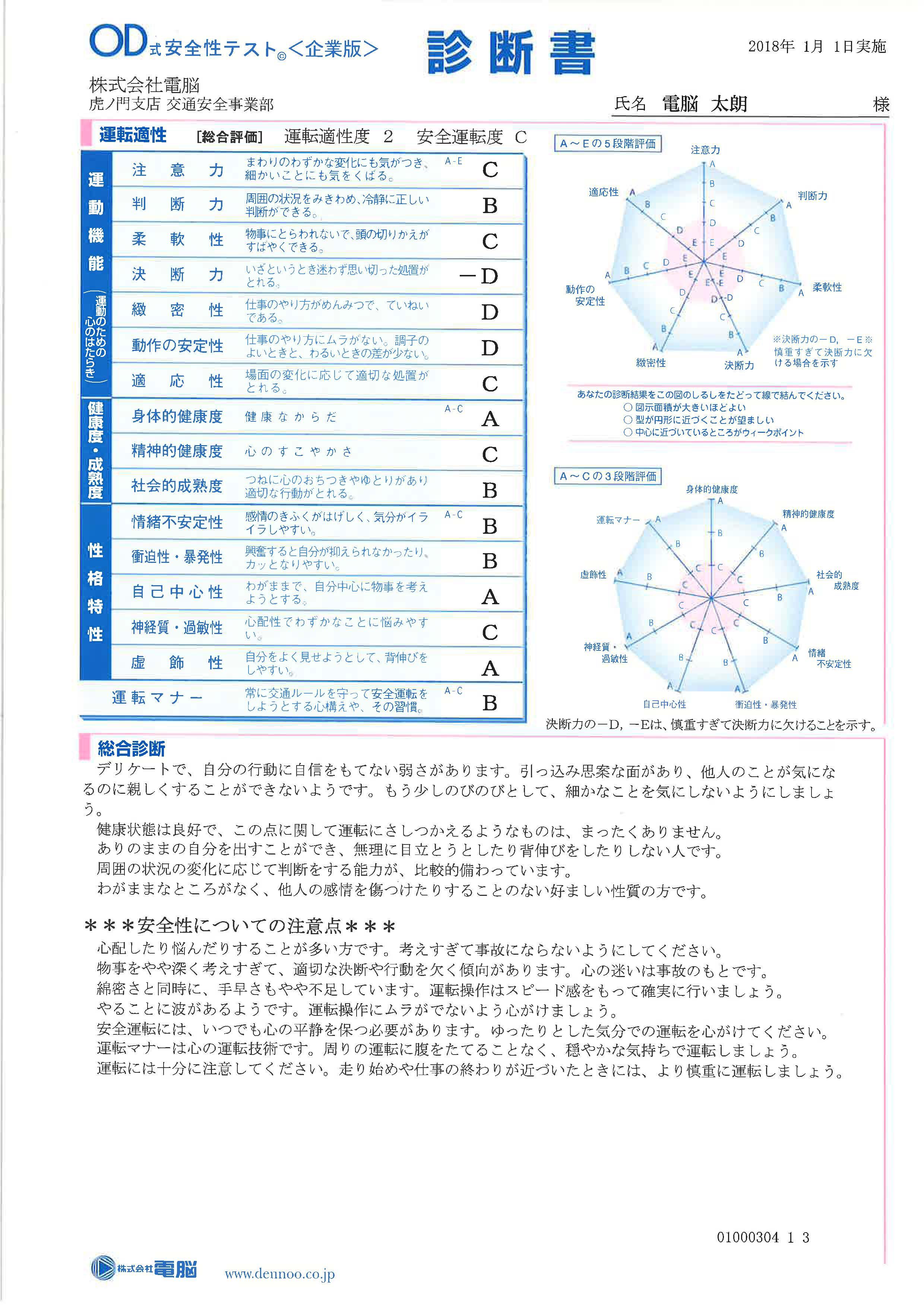 OD式安全性テスト診断書(個人用)